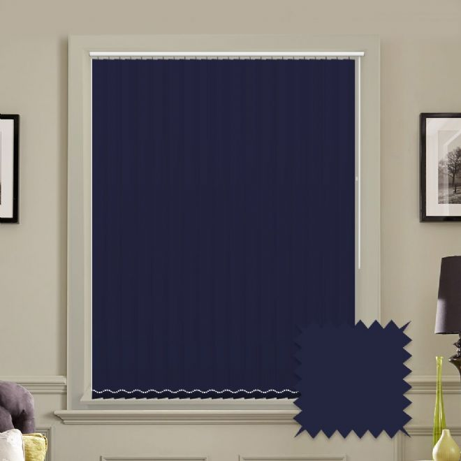 "Made to Measure Blackout 5"" Unishade Navy Vertical Blind"